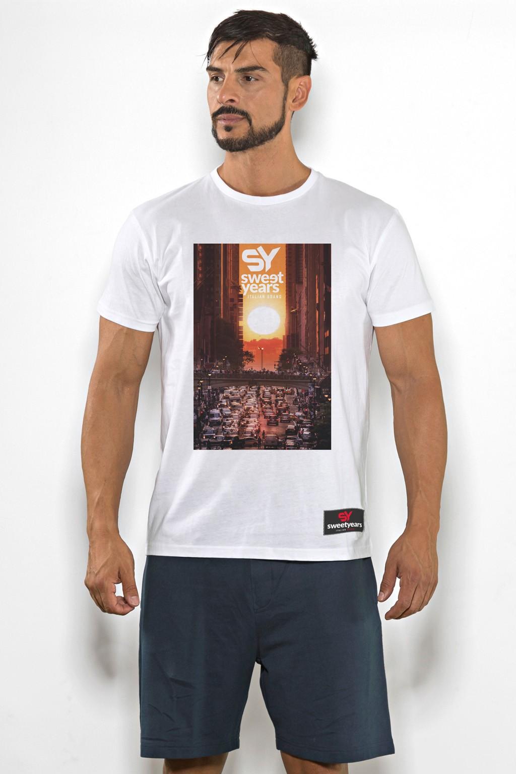 T-shirt uomo Sweet Years cotone tinta unita con stampa tramonto sul petto