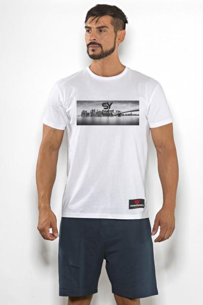 T-shirt uomo Sweet Years cotone tinta unita con stampa skyline sul petto