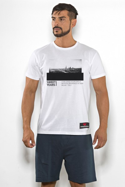 T-shirt uomo Sweet Years cotone tinta unita con stampa panorama sul petto