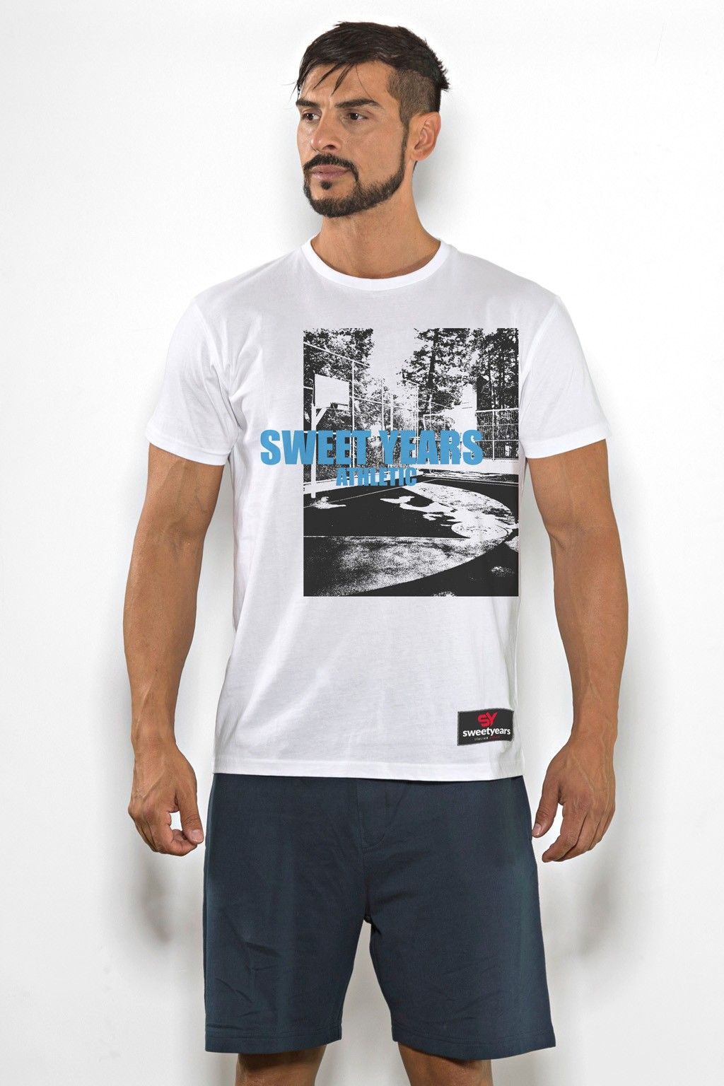 T-shirt uomo Sweet Years cotone tinta unita con stampa playground sul petto