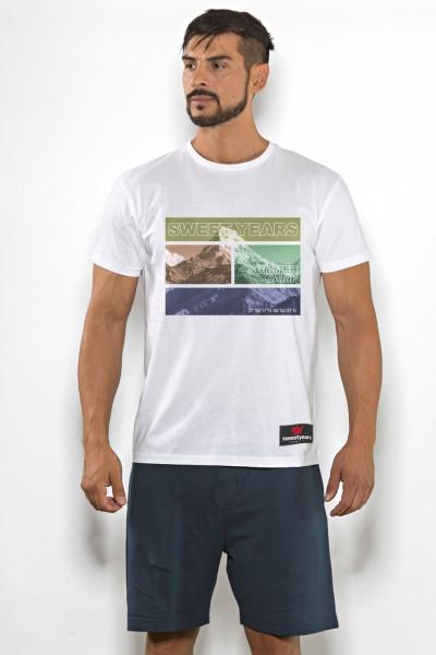 T-shirt uomo Sweet Years cotone tinta unita con stampa di montagna multicolor sul petto