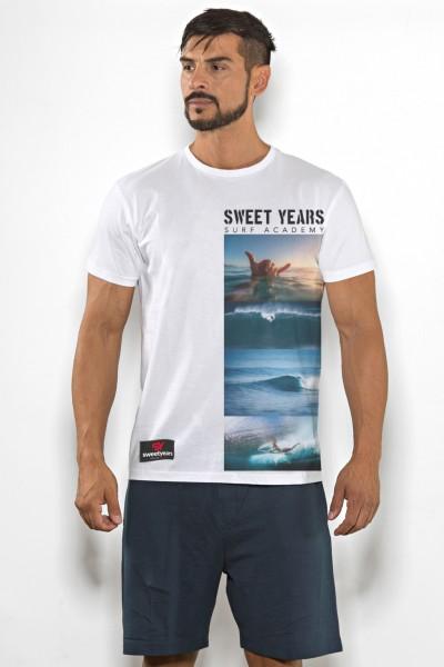 T-shirt uomo Sweet Years cotone tinta unita con stampa oceano sul petto