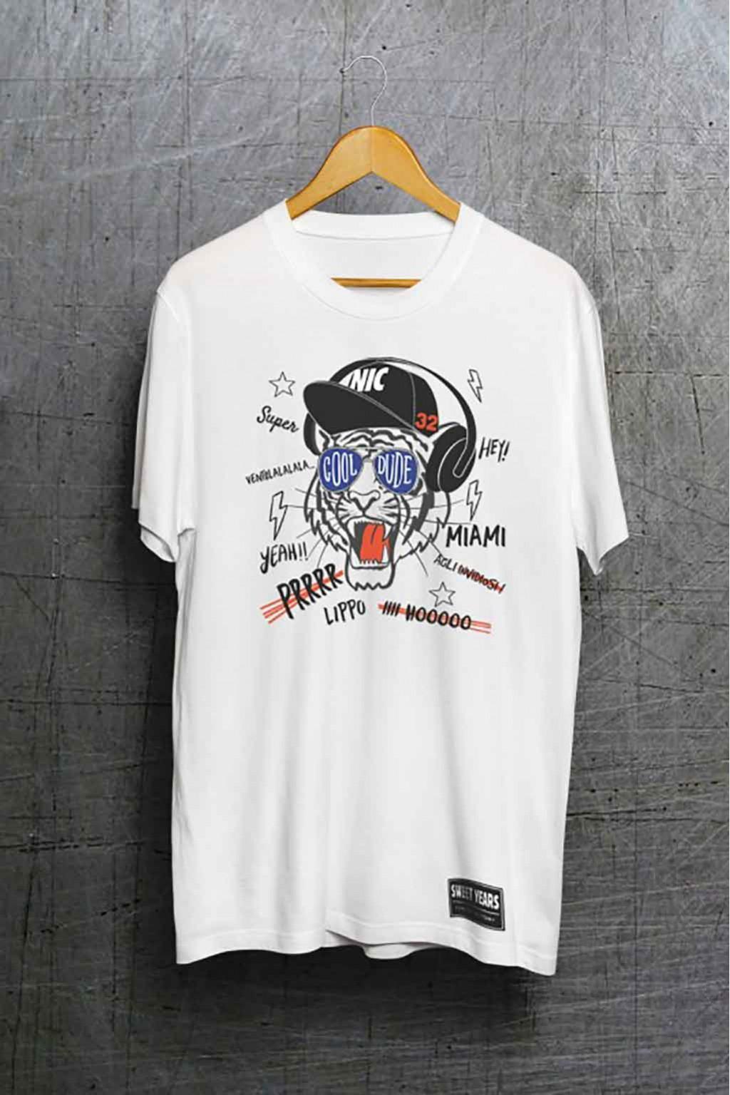 T-shirt in cotone della collezione Bobo Collection con stampa centrale tigre.
