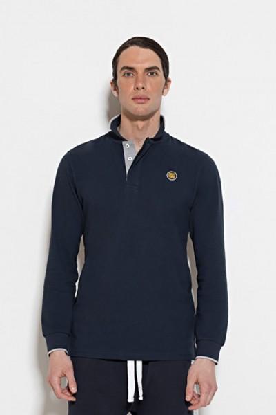 Polo a manica lunga in cotone piquet con stampa del marchio sul colletto.