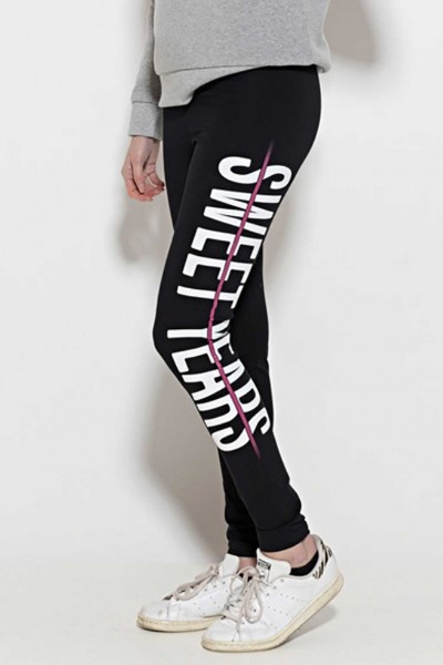 Leggings in cotone con banda laterale con marchio Sweet Years.