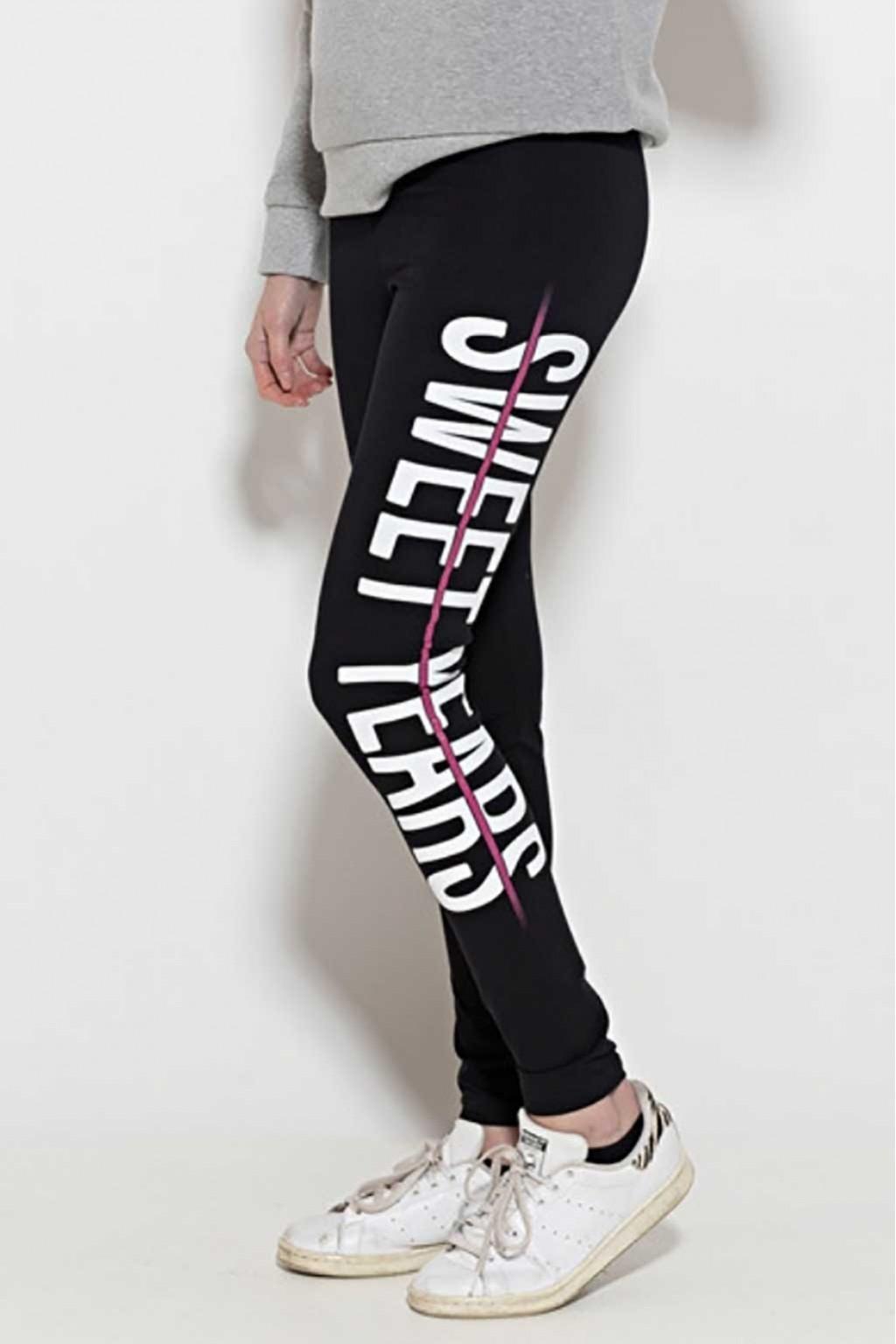 Leggings in cotone con banda laterale con marchio Sweet Years.