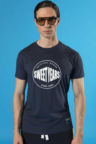 T-shirt uomo in cotone con stampa rotonda Sweet Years.