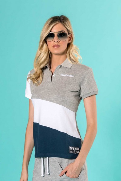 Polo donna in cotone Sweet Years con fasce diagonali.