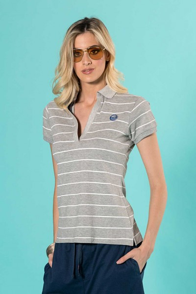 Polo donna a righine orizzontali in cotone Sweet Years.
