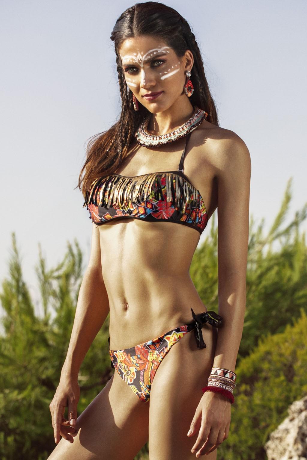 Bikini a fascia donna con frange dorate sul pezzo superiore Sweet Years.