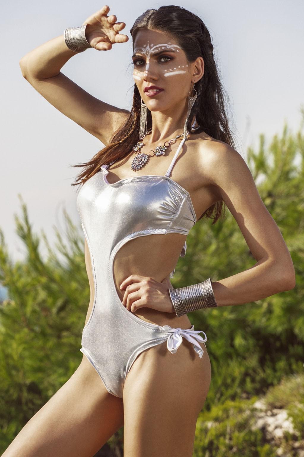 Trikini donna argentato con bretelle sottili e piccola rouge Sweet Years.